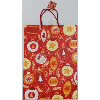 Vánoční dárková taška - červená baňky - velká 46x33x10cm