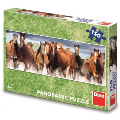 Dino Koně ve vodě panoramic puzzle 150 dílků