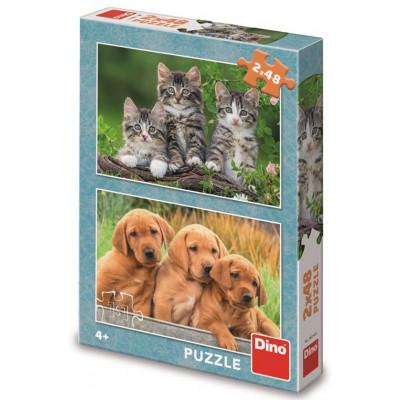 Dino Pejsci a kočičky puzzle 2x48 dílků