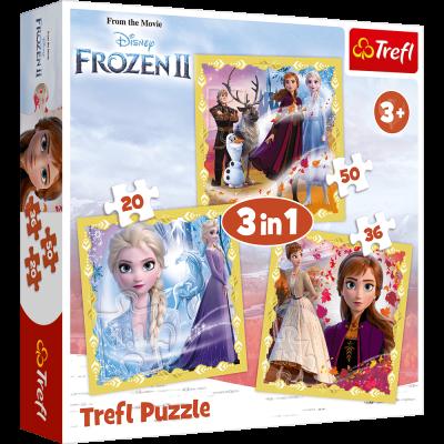 Trefl Puzzle 3v1 Ledové království II/Frozen II 20, 36 a 50 dílků