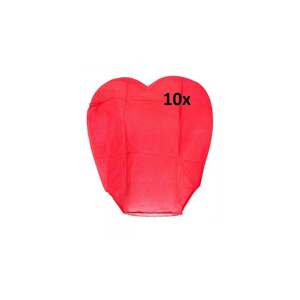 Lampión štěstí - srdce - 10 ks - červený