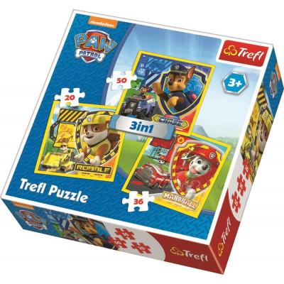 Trefl Puzzle 3v1 Marshall, Rubble a Chase Tlapková patrola/Paw Patrol 20, 36, 50 dílků