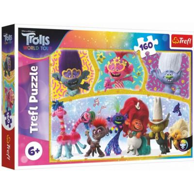 Trefl Puzzle Trolls world tour Šťastný svět Trollů 160 dílků