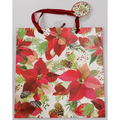 Vánoční dárková taška - vánoční hvězda - velká 33x33x14cm