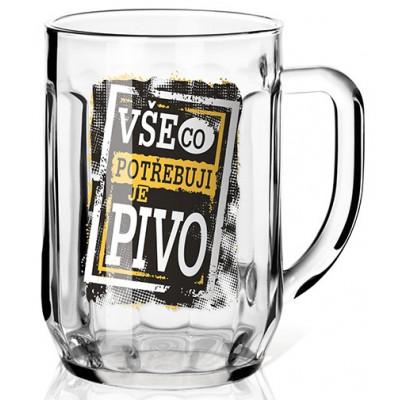 Nekupto Dárková sklenice na pivo 0,5l - Vše, co potřebuji, je pivo