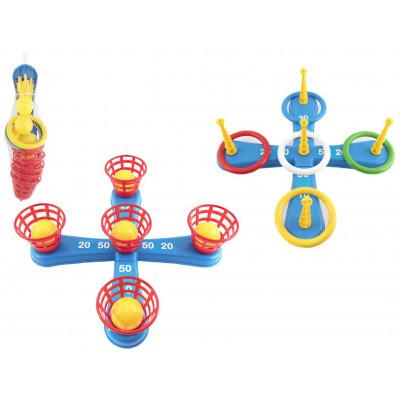 Házecí hra plast kříž s kruhy + košíčky s míčky