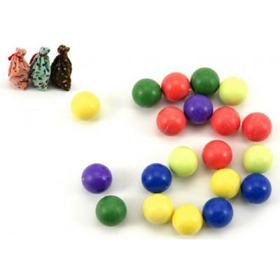 Kuličky cvrnkací nerozbitné barevné 20ks 1,5 cm v látkovém pytlíčku