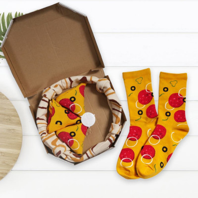 Sada 4 párů ponožek - pizza - vel. uni