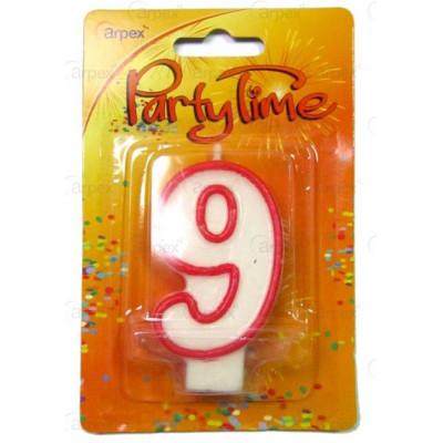 Narozeninová svíčka - číslo - 9