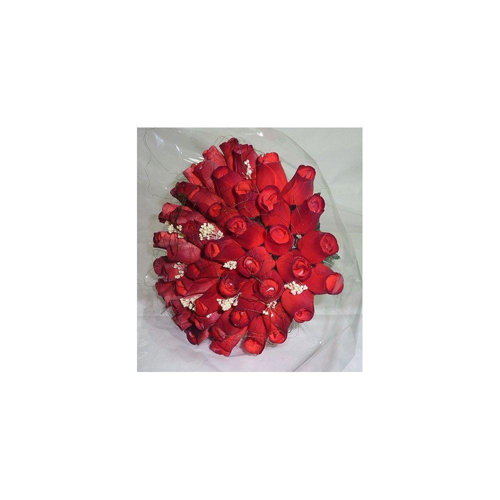 Dřevěná kytice růží - 50 ks - červená