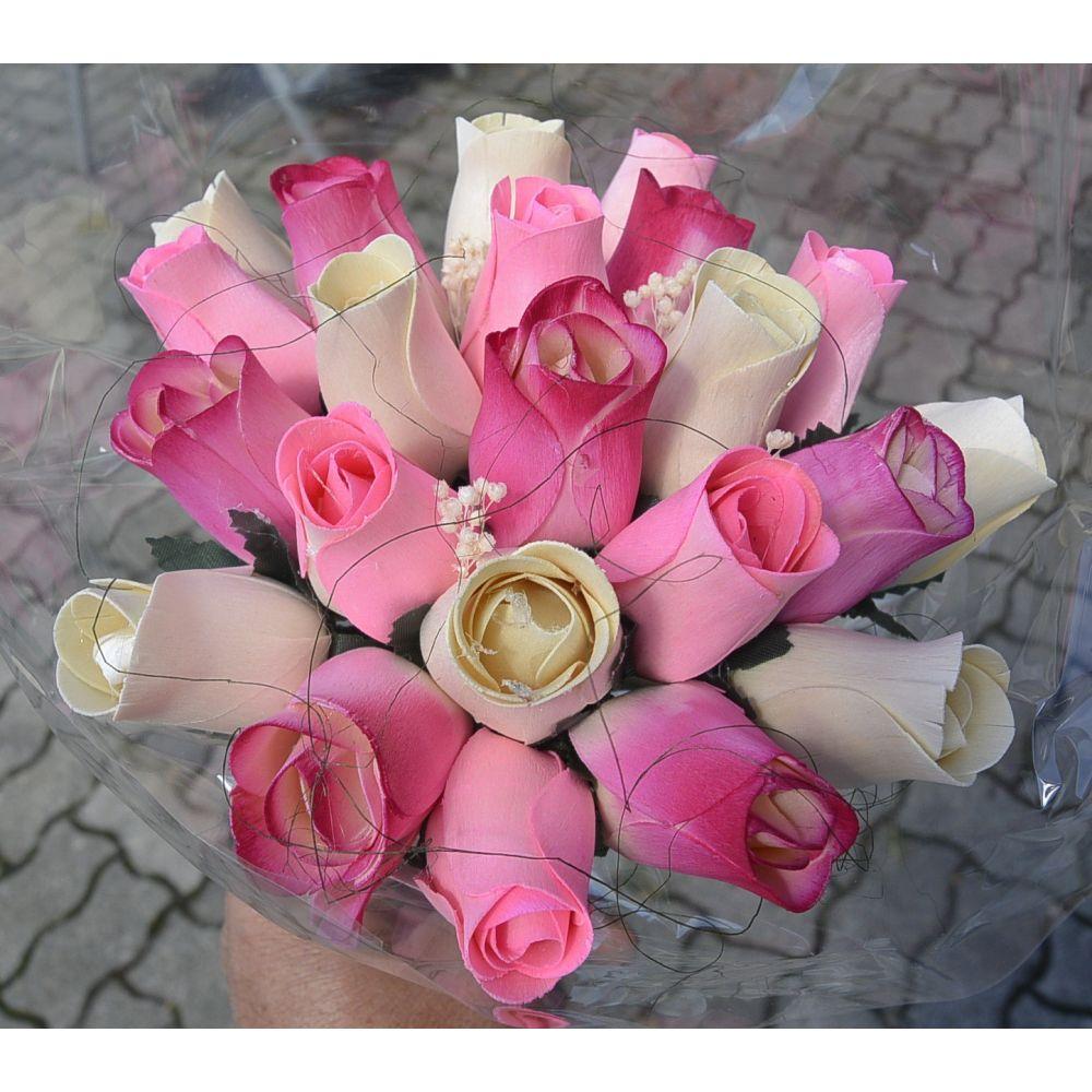 Dřevěná kytice růží - 22 ks - růžová